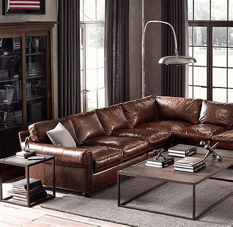 preconfigured original lancaster leather  sectional
