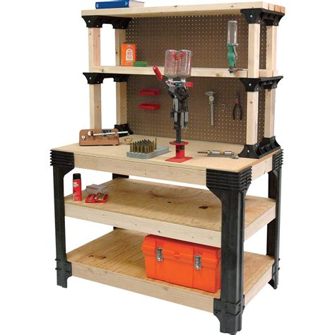 building a tool bench 2x4 basics anysize workbench kit with shelflinks model