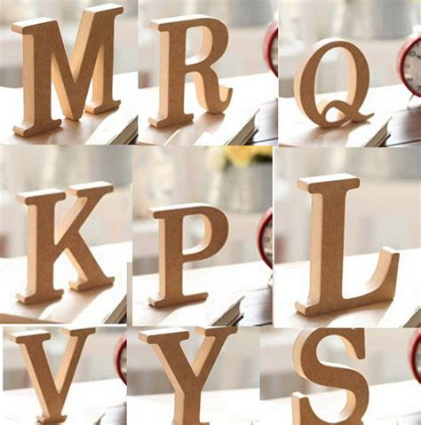 decorative letters for home free standing 10x1 5cm thick wood wooden letters alphabet diy bridal