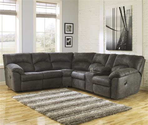 ashley reclining sectional 2 piece reclining corner sectional with center console by