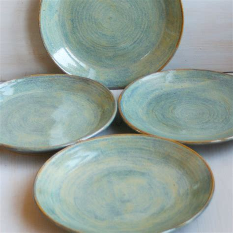 Handcrafted Plates - ceramic dinner plates rustic green plates handmade by