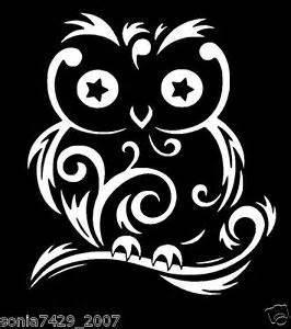 Owl Wall Art Stickers cute owl swirls white vinyl sticker decal car truck jdm