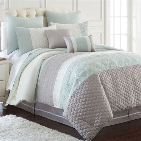 comforter queen set modern embroidered oversized aqua grey white 8 pc