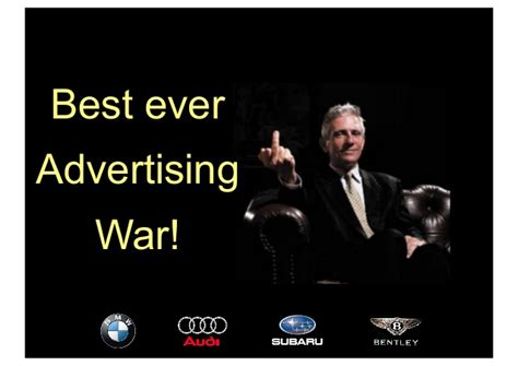 used bentley ad car industry advertising war between bmw audi subaru and