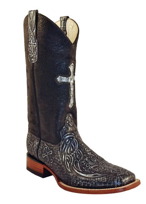 ferrini western cowboy boots womens embossed cross silver