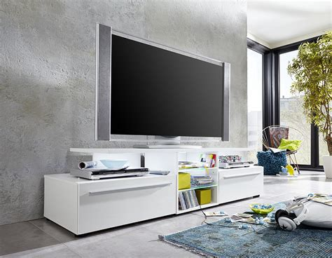 meuble tv blanc laqu 233 design avec 233 clairage led