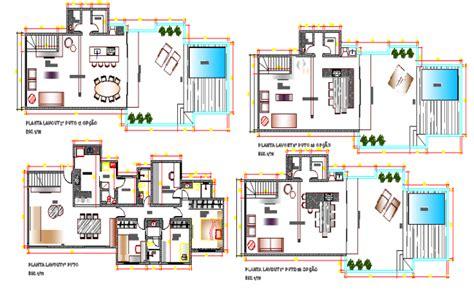 villa layout dwg modern villa type bungalow architecture layout plan
