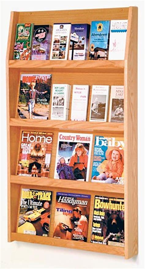 Magazine Display Rack Wall by Wooden Wall Magazine Rack 12 Pocket Display Light Oak