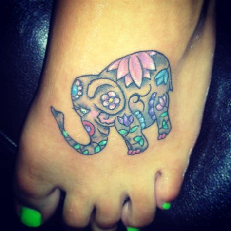 watercolor tattoos on foot lotus watercolor elephant on foot tattoos