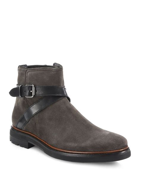 coach bryant suede leather chelsea boots in gray