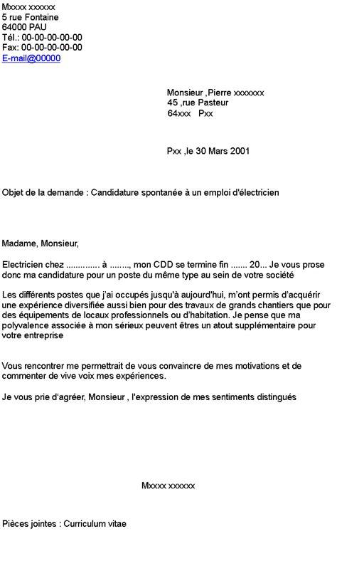 Lettre De Motivation Stage Accueil Candidature Spontan 233 E 224 Un Emploi D 233 Lectricien