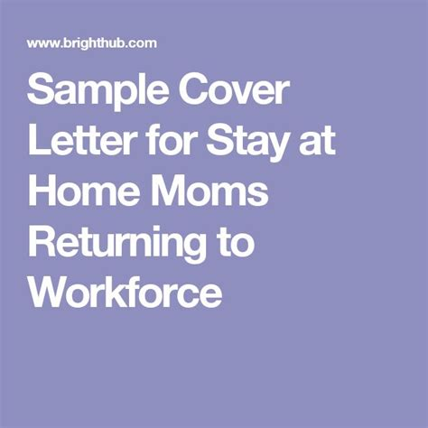 sle cover letter for stay at home returning to