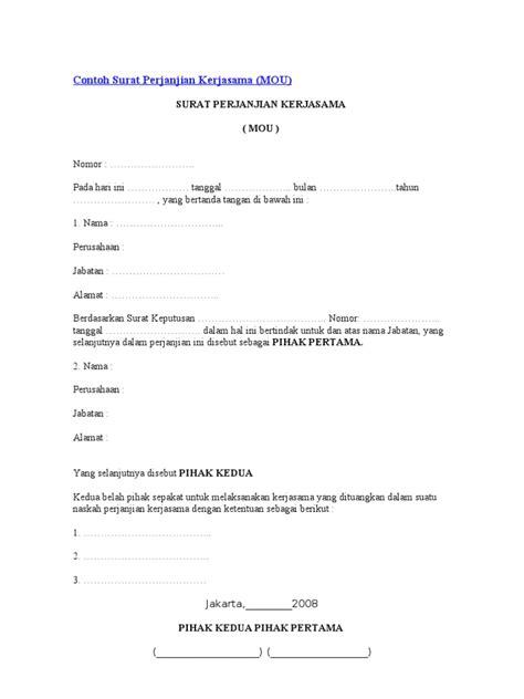 Contoh Surat Permohonan Kerjasama Sponsorship by Contoh Surat Perjanjian Kerjasama