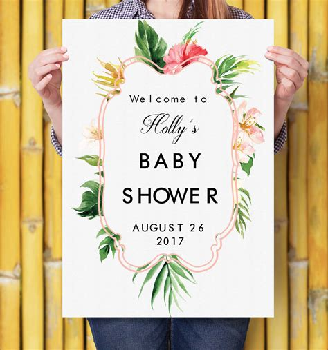 baby on board template baby shower welcome sign printable personalized botanical