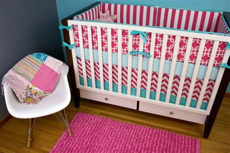 Handmade Nursery Bedding - custom pink and turquoise baby bedding tedx decors the
