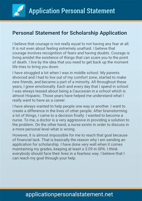 Personal Letter Format For Scholarship Our Professional Application Personal Statement Exles