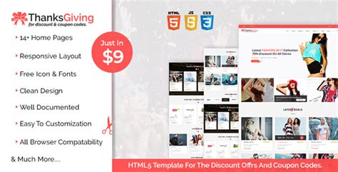 themeforest discount code thanksgiving html5 template for the discount offers and