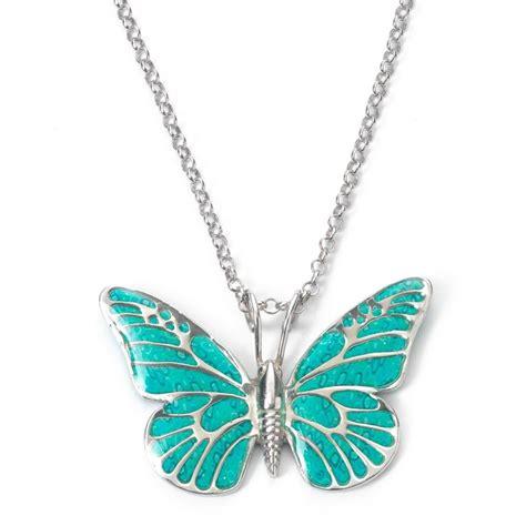 adina plastelina silver butterfly necklace turquoise