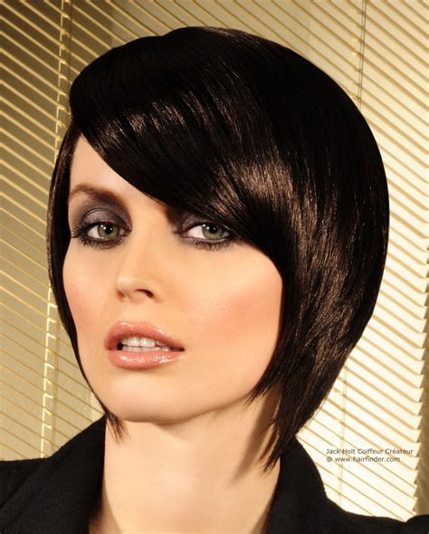 convex haircut concave bob with elongated forward lengths and a side