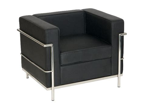 stylish armchair corbusier style armchair in black eco leather