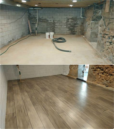 basement refinished with concrete wood ardmore pa