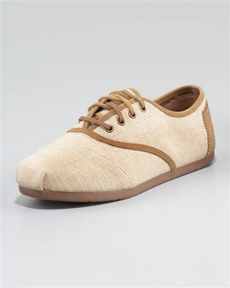 toms oxford shoes toms westover burlap oxford in beige for lyst