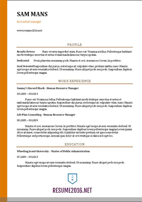 accountant resume template accountant resume sle 2016