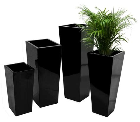 White Square Outdoor Planters by Flared Square Fibreglass Planter Gloss Black Plant