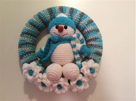 crochet pattern for xmas wreath snowman winter wreath snowball crocheting and patterns