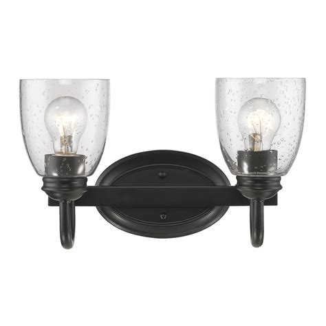 Seeded Glass Bathroom Light Black Golden Lighting 8001 Black Bathroom Light