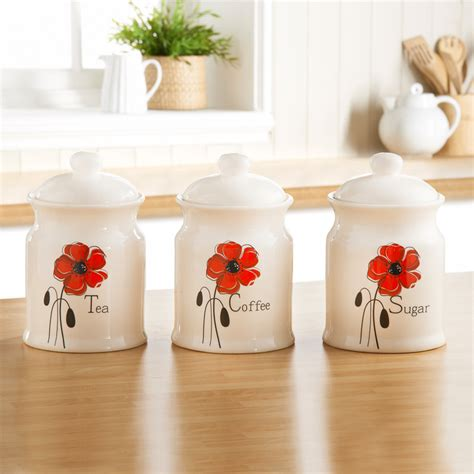 Silver Kitchen Canisters b amp m poppy tea coffee sugar canisters food storage amp jars