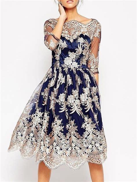 3 4 Sleeve Midi A Line Dress stylewe blue midi dress a line dress 3 4 sleeve vintage