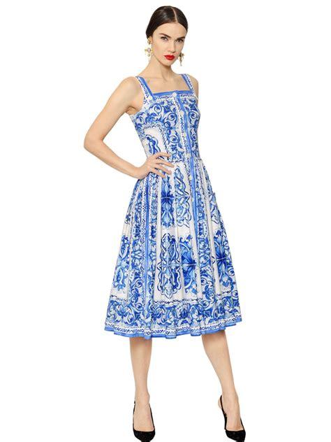 Cotton Dress S M 30285 lyst dolce gabbana printed cotton dress in blue