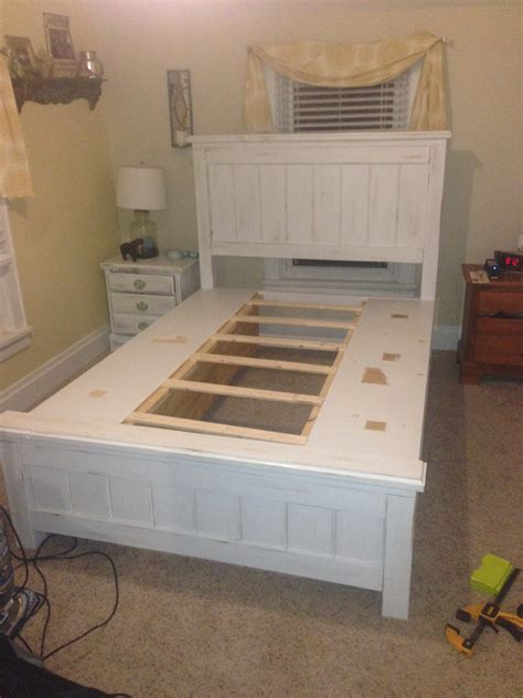 ana white queen size farmhouse bed  storage diy