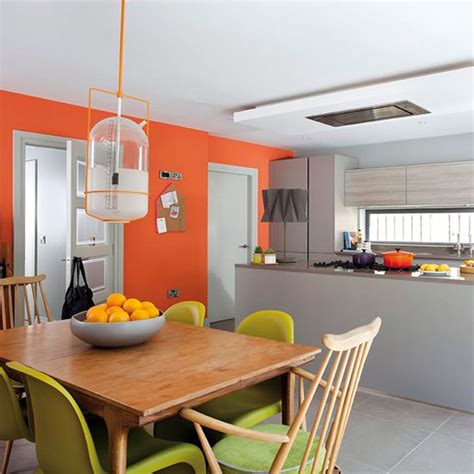 kitchen feature wall paint ideas orange and grey kitchen decorating with bright colours