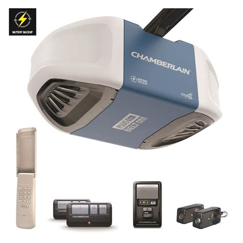 Garage Door Opener Belt Drive Shop Chamberlain 0 75 Ultra And Strong Belt Drive Garage Door Opener Battery Back Up At