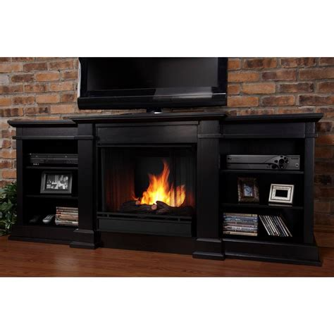 real fresno 72 in media console gel fuel fireplace