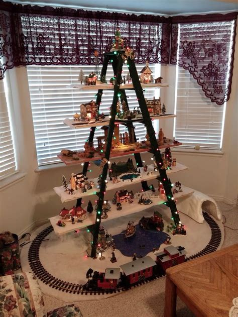 christmas village ladder display my ladder with at the center as he should be 2015 ladder