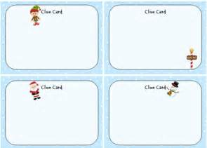 Clue Card Template by Activities Recipes More