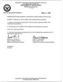 brac transmittal candidate recommendation letter usaf 0122