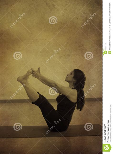 supported boat pose woman in yoga navasana royalty free stock photos image