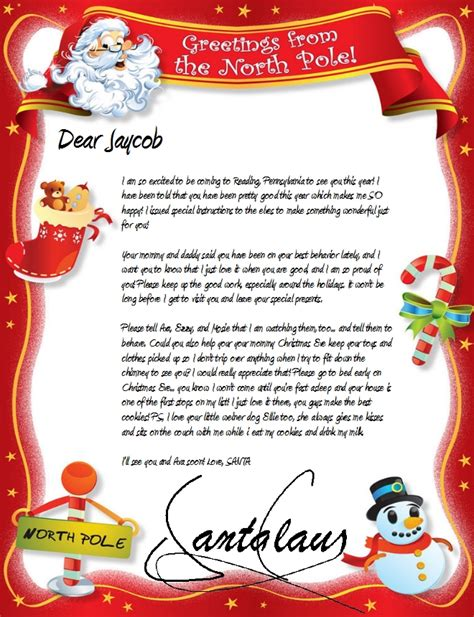 personalized letter from santa claus printable official north pole mail personalized letters from santa