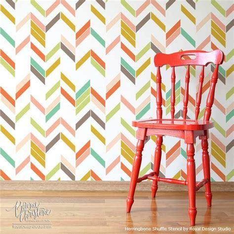 herringbone pattern wall stencils herringbone shuffle stencil paint pattern
