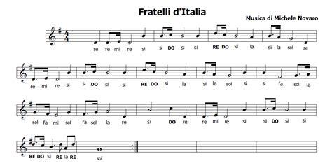 la italia testo musica e spartiti gratis per flauto dolce inno nazionale