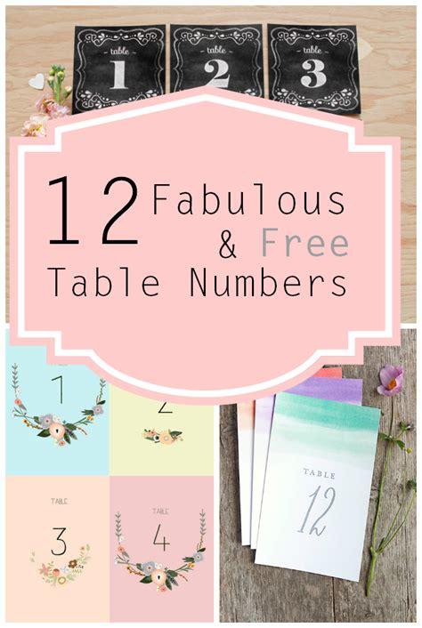 Free Printable Table Numbers Vintage Table Numbers Template