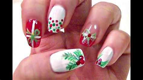 easy christmas holly nail tutorial short nails youtube