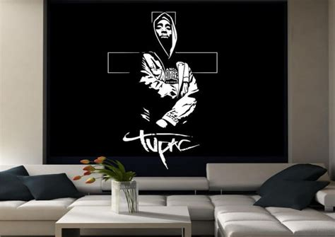 tupac wall mural items similar to tupac hip hop legend rap wall sticker decal mural transfer stencil decor on