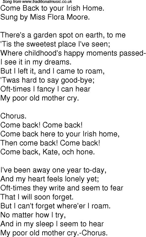 time song lyrics for 05 come back to your home