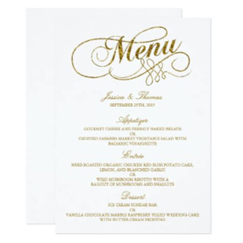 wedding menu cards templates for free wedding menu cards zazzle