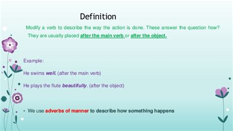 layout verb definition adverb of manner